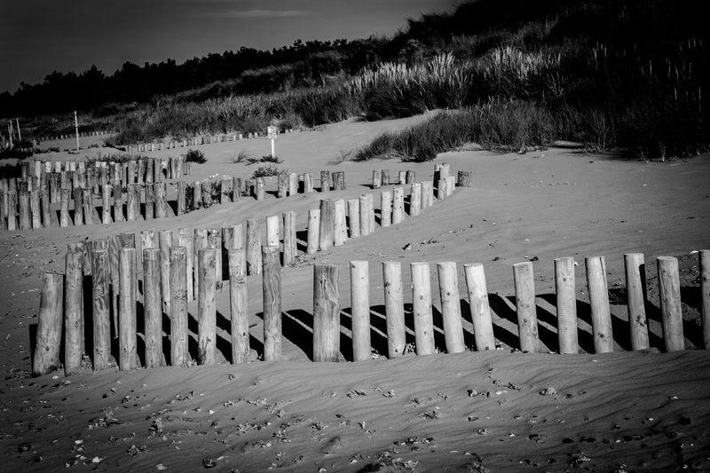 North Norfolk coast near Thornham. Dunes Grass Day Light And Shadow Linear Nature No People Outdoors Pattern Sand Shadows Sky Tranquility Wooden Post Wooden Posts