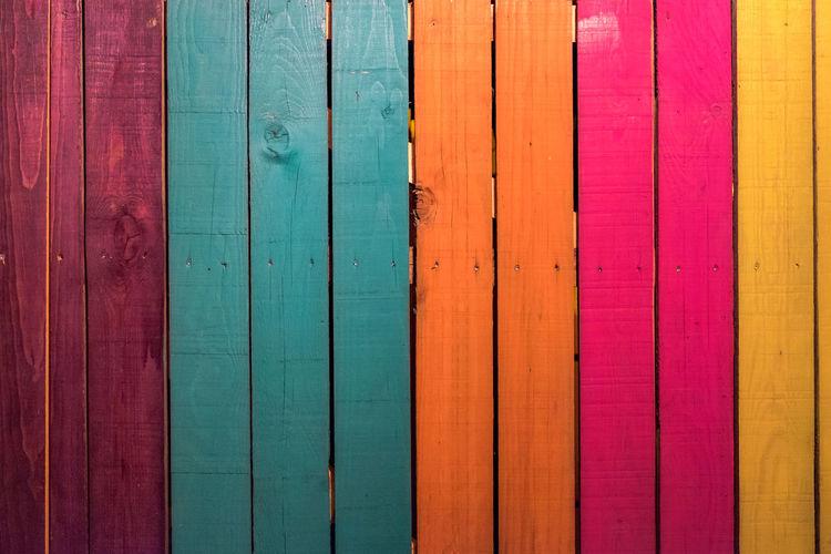 Full frame shot of colorful wooden planks