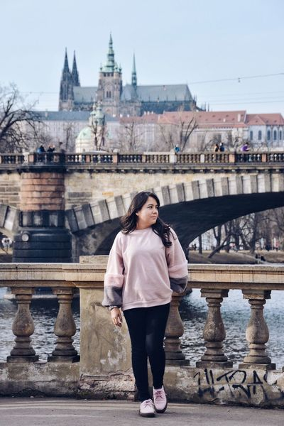 My selfie version, or should I say... portrait? Fashion Pink Travelling Architecture Bridge - Man Made Structure Building Exterior Built Structure Casual Clothing City Front View Full Length Hairstyle History One Person Real People Style Tourism Travel Destinations Women Young Adult The Portraitist - 2018 EyeEm Awards