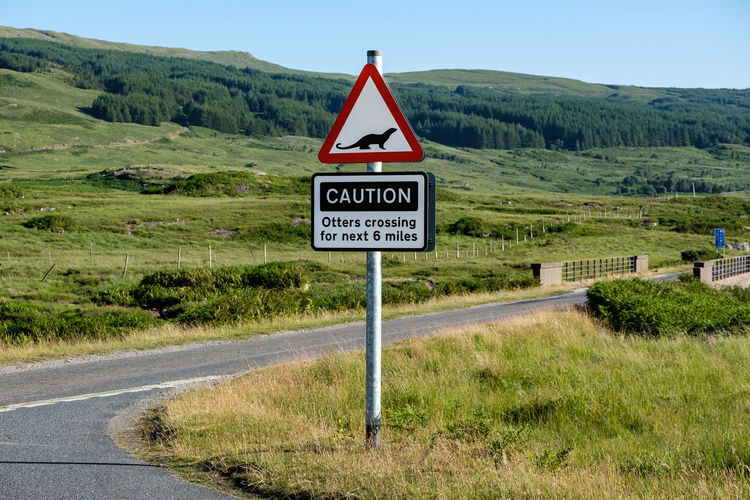 Otter Scotland Animal Communication Environment Grass Guidance Land Landscape Nature No People Outdoors Plant Road Road Sign Sign Text Transportation Warning Sign