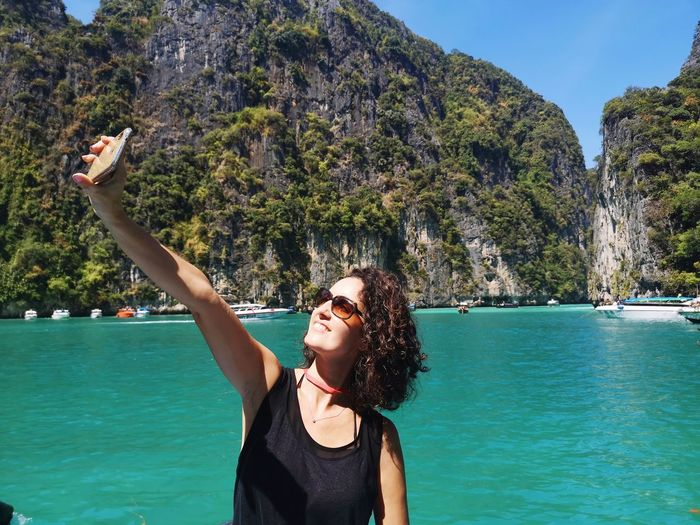 Woman makes selfie in thailand
