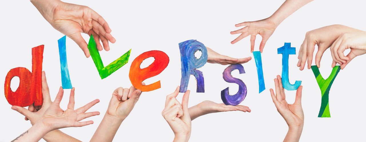 Diversity Hands Gesture Diversity Concept Word Symbol Banner Human Hand White Background Multi Colored Togetherness Painted Image Friendship Arts Culture And Entertainment Close-up