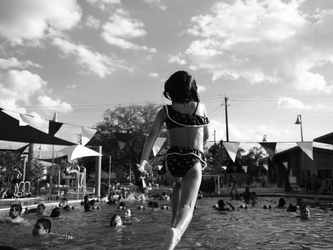 Swimming Black & White Summer Child Photography Modern Father Shades Of Grey Up Close Street Photography