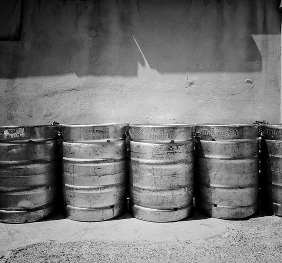 Metal Trunks Beer Sequence Sunny Day Blackandwhite Photography No People
