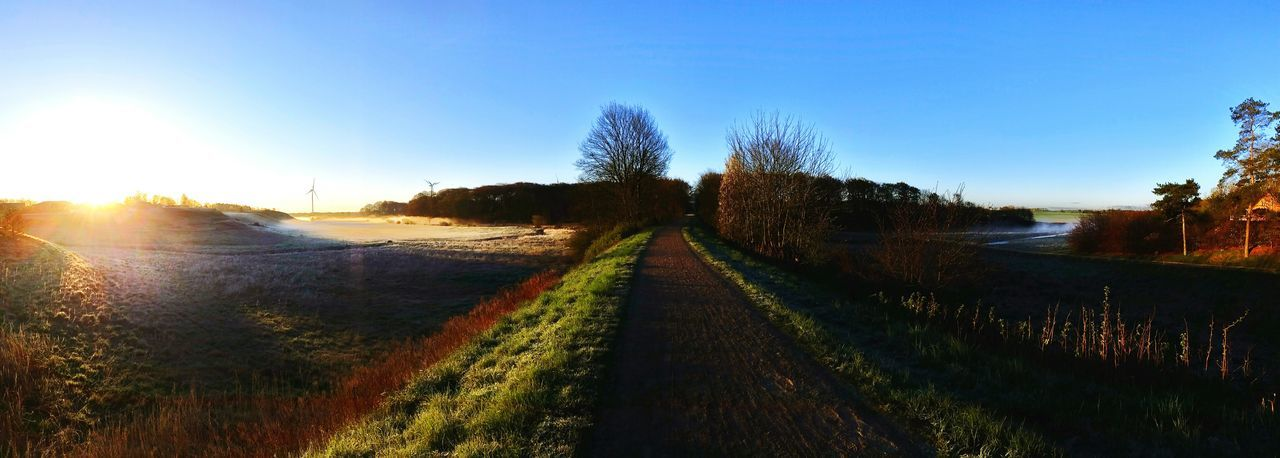 Another beautiful walk... Sky Nature Agriculture Social Issues Rural Scene Tree Beauty In Nature Outdoors Field Sunrise Road Growth The Way Forward Landscape Scenics No People Refraction Day Moning Frosty Mornings Fresh Air And Sunshine Sunlight Moning Walk Aalestrup Denmark