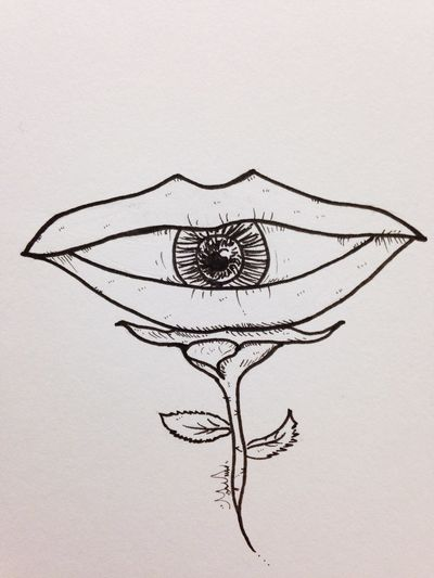 Eye Mouth Rosé Hand Drawing Malen Pen Drawing Drawing Pen