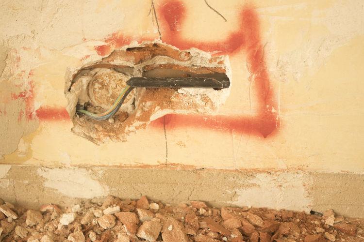 High angle view of peeled wall