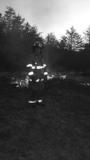 Firemantraining Firemansgear Flames,black /white Photo One Person Burning Adults Only Adult People One Man Only Night Only Men Heat - Temperature Full Length Flame Outdoors Tree Men Forest Fire Bonfire Sky Nature