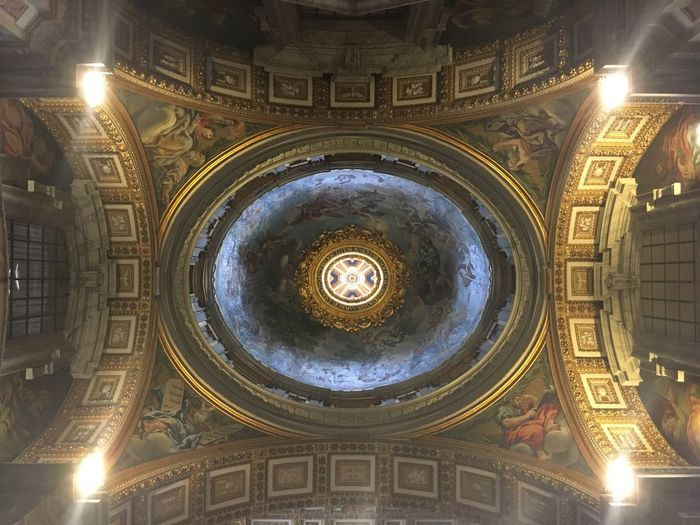 St Peters Basilica Vatican Vaticano Vatican City Rome Roma Italy Capital Cities  Architecture Ceiling Painting Holy Amazing Church Chapel Travel Destinations Low Angle View Religion Indoors  Tourism No People Architecture Built Structure Place Of Worship Illuminated