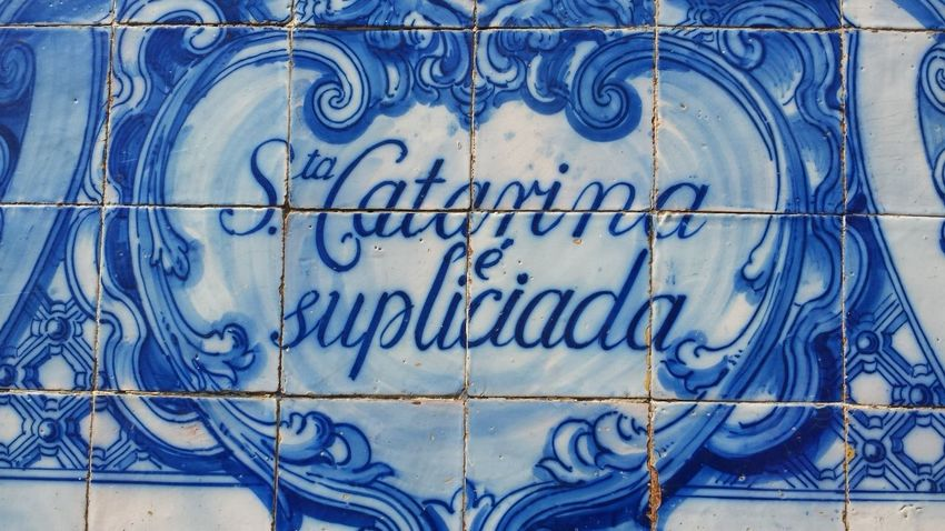 azulejos tiles close up wall of church in Porto Portugal Blue Color Catarina Santa Architecture Azul Azulejos Blue Built Structure Close-up Day Design Full Frame Heart Shape No People Pattern Text Tile Wall - Building Feature