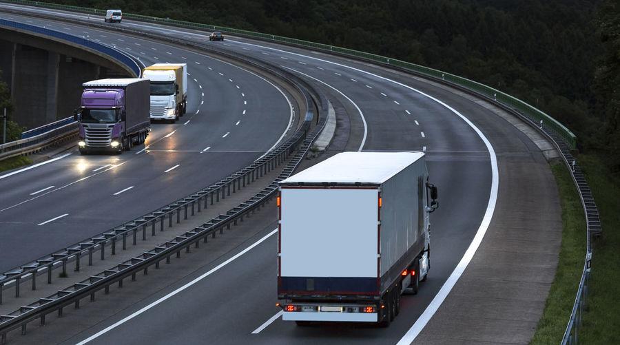 Truck moving on bridge