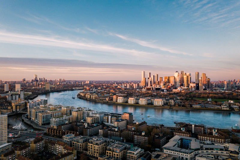 Aerial view of london containing canary wharf and river thames