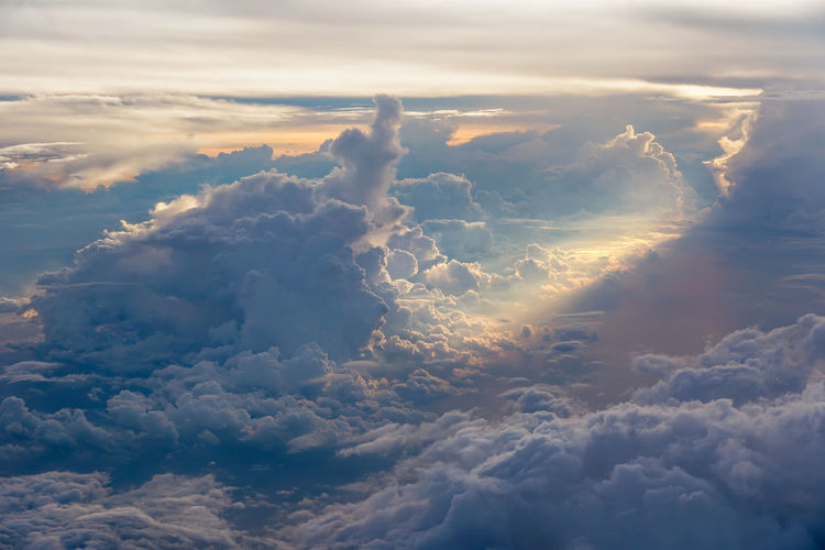 Cloud - Sky Beauty In Nature Sky Scenics - Nature Tranquility Tranquil Scene Nature Cloudscape No People Outdoors Fluffy Idyllic Dramatic Sky Day Aerial View Sunset Softness White Color Majestic Backgrounds Meteorology Above