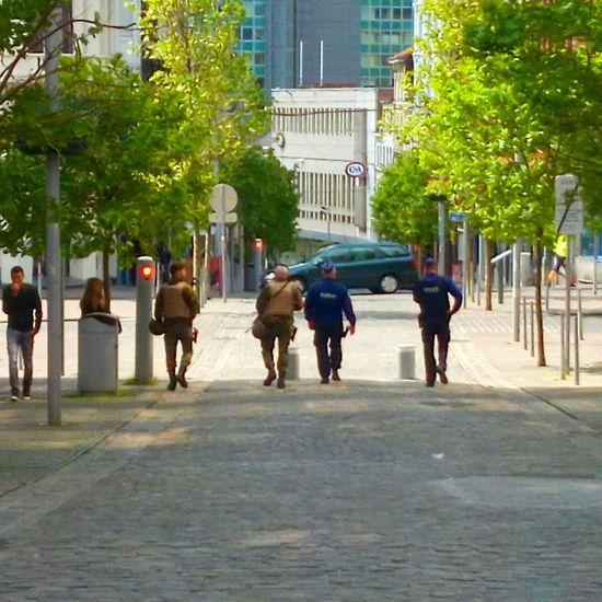 Belgium Police and Solders Control Terror Architecture Belgium Police Belgium Solders Belgium. Belgique. Belgie. Belgien. Etc. City Life City Street Control Day Men Outdoors Person Solder Belgium Solders Solders And Police Control Street