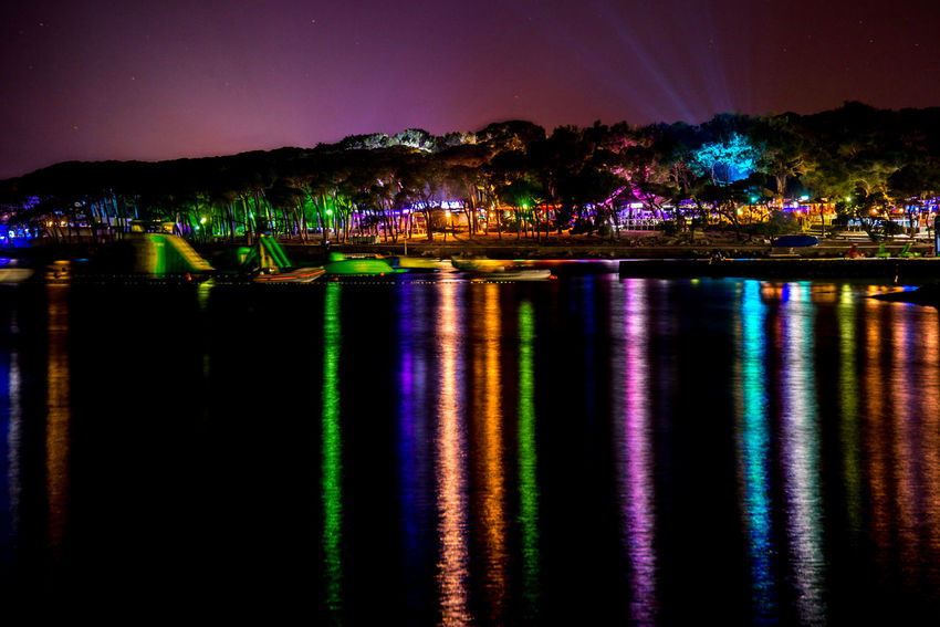 night coast Biograd na Moru Croatia Beauty In Nature Biograd Na Moru Coast Illuminated Multi Colored Nature Night No People Outdoors Reflection Scenics Sky Water Waterfront