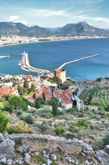 view from atlanta castle Mountain Alanya Water No People Beauty In Nature Mountain Range Sea Cityscape Cloud - Sky Day High Angle View Outdoors Travel Destinations Bay Built Structure Architecture Old The Past Alanya Castle