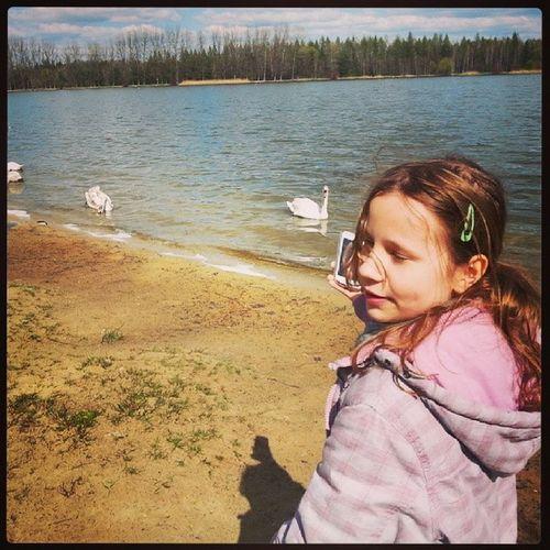 Sosina Jaworzno Poland City lake swans polish girl