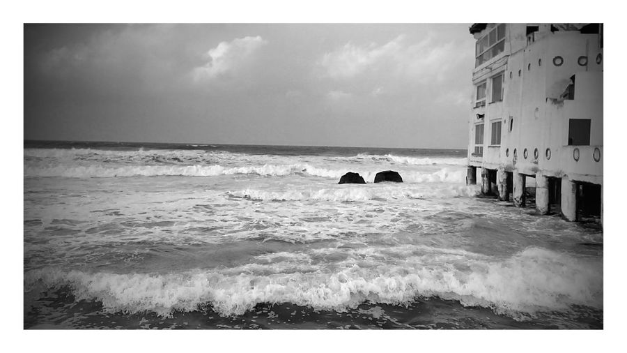 Sea Beach Outdoors Wave Horizon Over Water Eyeem Tunisia Blackandwhite No People Eyeem Tunisie لا اله الا الله محمد رسول الله  Walking Around La Marsa Cloud - Sky المرسى Vue Sur Mer