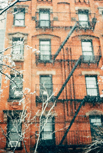 Architecture Brick Wall Building Exterior Built Structure Fireescape New York Outdoors Snow Snowing Window Winter