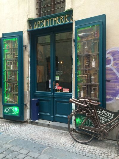 Prague Czech Republic Absinthe Bicycle Old Town Cobblestone Cobblestone Streets Shop Absintherie Old Bike No People Old Shop