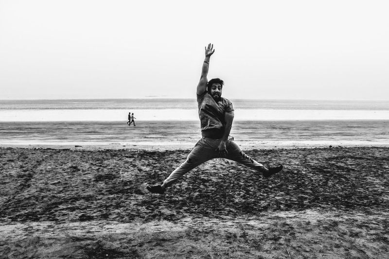 Limits??? Never Heard of it. Sea Beach Full Length Real People People Adults Only Outdoors Water Nature Sky Beauty In Nature Sand Day Men Beauty Portrait Happiness Photography Live Your Dream .. Share Your Passion .. Photographer Uniqueness EyeEm Best Shots Photography Themes One Person Monochrome Photography
