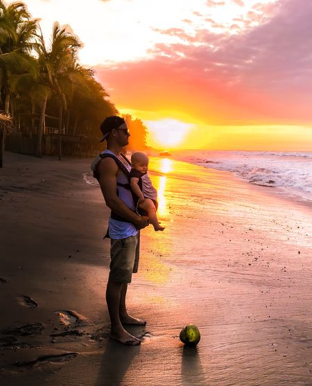 Babywearing Palm Trees Surf Sunset Coconut Beach Full Length Sea Boys Real People Sunset Childhood Nature Family Beauty In Nature Son Love