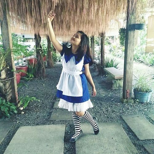 One Person Child One Girl Only Full Length Outdoors Portrait Tree Real People People Childhood Day Adult Alice In Wonderland Stage - Performance Space Cosplay Cosplaygirl Happiness Beauty Cheerful Smiling Young Adult Fun Confidence  Beautiful Woman Cosplayer EyeEmNewHere