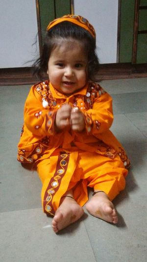 Childhood One Person Children Only Pumpkin Outdoors People Day Navratri Dandiya Dance Clothes Dance Coustume