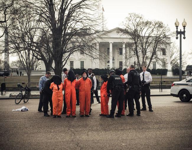 Amnesty International Protest Arrest Guantanamo Incarceration Jump Suit Police Prisoners Secret Service Street White House