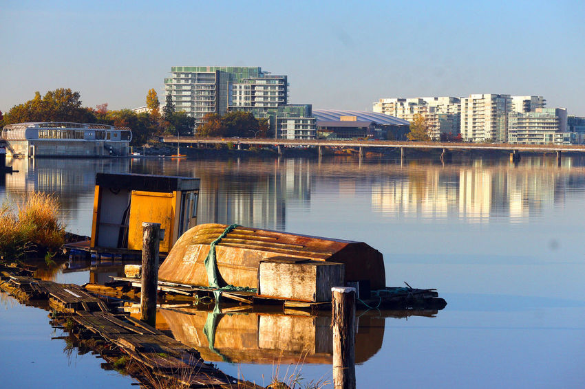 Fraser River in Richmond B.C. Canada. Water Reflection Clear Sky Outdoors City Richmond Canada B.C Fraser