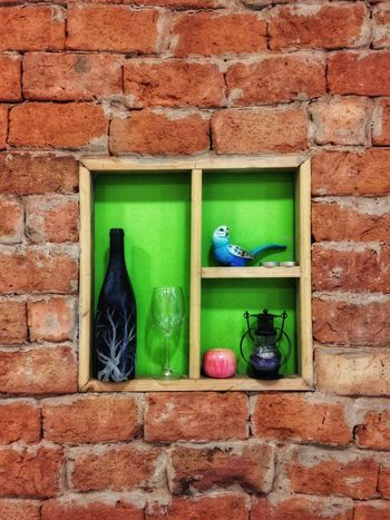 Green Color Brick Wall Wall - Building Feature No People Built Structure Window Growth Plant Architecture One Animal Building Exterior Leaf Shelf Day