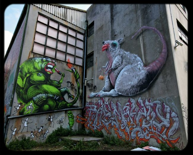 Makatron and Mayo with Bailer and giant tranny rats Graffiti