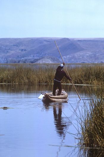 Transportation Uros Islands - Titicaca Lake Uros Titicaca Lake Reed Boat Reed Pole Punting Lake Boat Water Real People Fishing One Person Nature Tranquil Scene Men Day Beauty In Nature Tranquility Outdoors Fishing Pole Horizon Over Water Full Length Sky Occupation Fisherman Scenics One Man Only