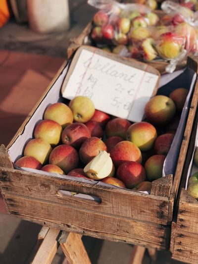 Fresh Market Apples Market Food Food And Drink Fruit Freshness Healthy Eating Container Text Still Life Market Stall