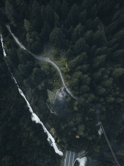 Aerial View Beauty In Nature Day Environment Flowing Flowing Water Green Color High Angle View Land Long Exposure Motion Mountain Nature No People Outdoors Plant Scenics - Nature Transportation Tree Water Waterfall