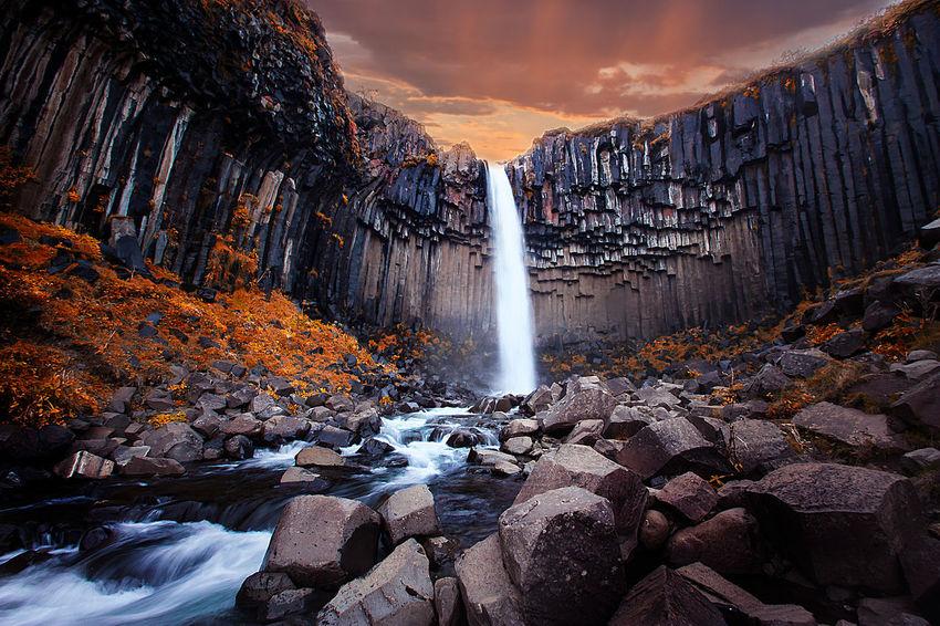 Svartifoss in Skaftafell, Iceland Dark Epic Iceland Basalt Columns Moody Rock - Object Skaftafell Stream Svartifoss Water Waterfall