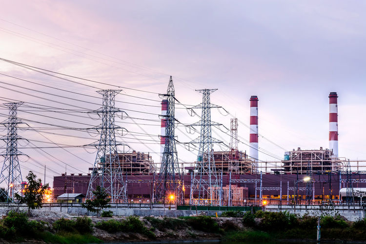 Architecture Building Exterior Built Structure Cable Cloud - Sky Complexity Connection Dusk Electricity  Electricity Pylon Factory Fuel And Power Generation Industrial District Industry Low Angle View Nature No People Outdoors Pollution Power Line  Power Supply Sky Technology