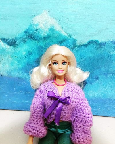 Tejido Rubia Snow Montain Snowcapped Mountain Snow Creativity Skyblue White Purple Crochet Barbie Cold Winter ❄⛄ Cold Cold Temperature Winter One Person Portrait Looking At Camera Women Childhood Blue Real People Turquoise Colored