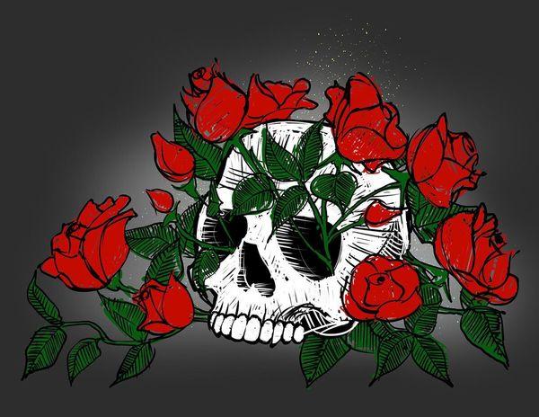 A skull and roses Art Drawing Digital Art Skull www.johnmarkese.com