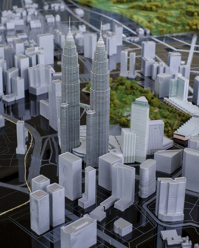 KUALA LUMPUR, MALAYSIA - AUGUST 10, 2016: Scale model of a city showing the Petronas Twin Towers. Petronas Twin Towers also known as KLCC (Kuala Lumpur City Center). Architecture ASIA Asian  Building Business City Finance In A Row Klcc Kuala Lumpur Kuala Lumpur City Center Kuala Lumpur City Centre Kuala Lumpur Malaysia  Malaysia Map Model Modeling No People Petronas Petronas Twin Towers Town Twin Towers View View, Outlook, Prospect, Panorama, Vista, Scene, Aspect, Perspective, Spectacle, Sight; Scenery, Landscape