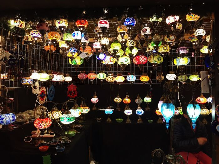 Turkish Lamps Colorful Lapms Turkish Lamp Lamps Lights Multi Colored Night Illuminated Large Group Of Objects Lighting Equipment Abundance Retail  Glass Market For Sale Decoration
