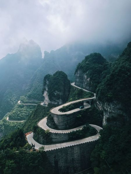 Tianmen Mountain Nationalpark Mountainroads Mountain Fog Nature Day Tranquil Scene Outdoors Beauty In Nature Landscape Sky first eyeem photo