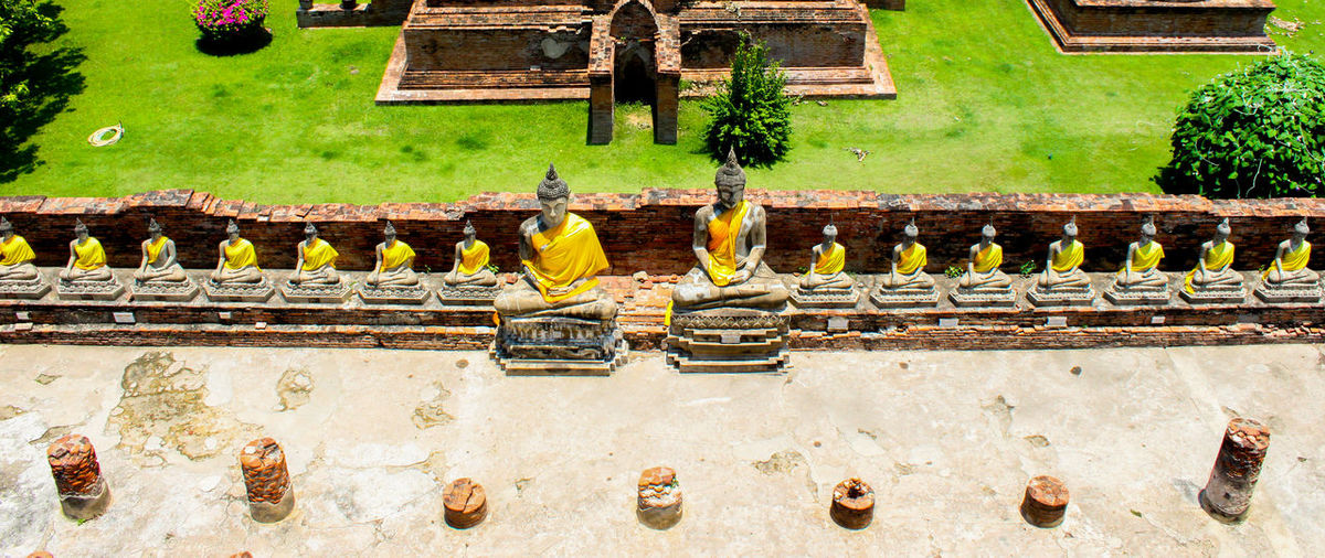 High Angle View Of Buddha Statues In Park