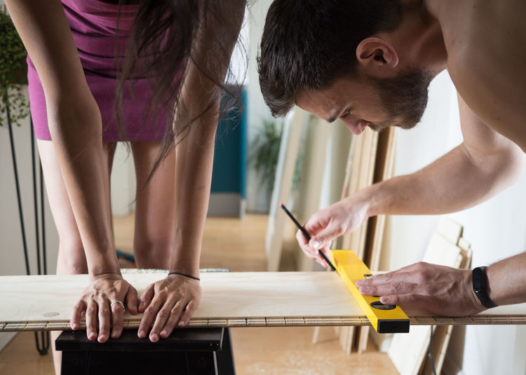 People working on table