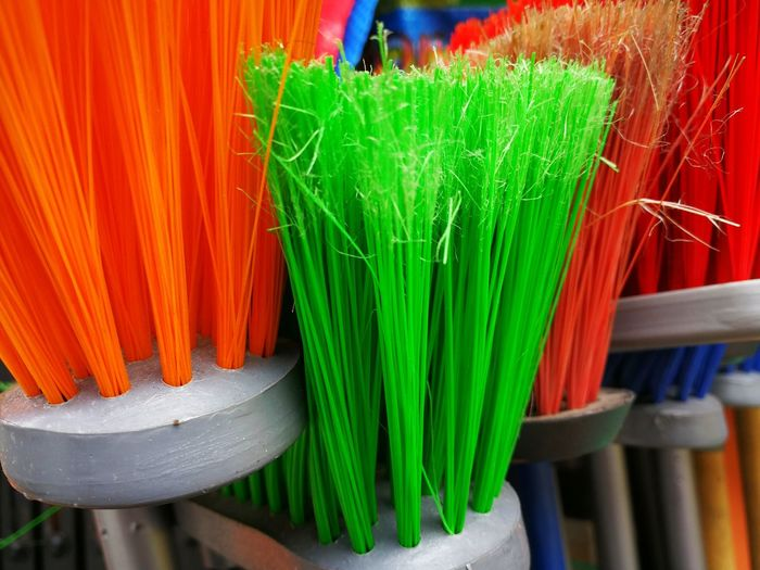 Brooms Brooms  Bristles Broom Brush Brushes Close-up Colorful Green Color Large Group Of Objects Multi Colored No People Orange Color Sweep Variation EyeEmNewHere