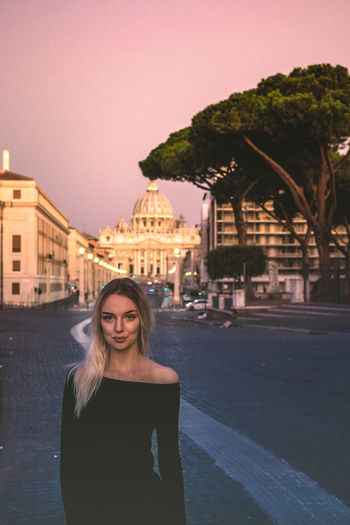 Blonde Morning Rome Architecture Beautiful Woman Beauty Building Exterior Built Structure City Front View Happiness Italy Leisure Activity Lifestyles Looking At Camera Model Modelgirl One Person Outdoors Portrait Real People Sky Smiling Standing Young Women EyeEmNewHere EyeEmNewHere Been There. Connected By Travel