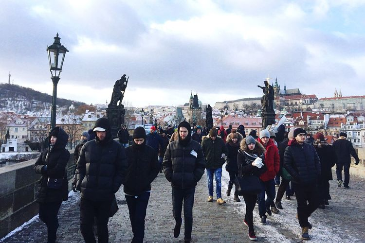 Bridge City View Real People People People Photography People Watching Tourist Tourism Sightseeing Snow Winter Wintertime Cityscape Men Sky Cloud - Sky Prague Chezh Republuc