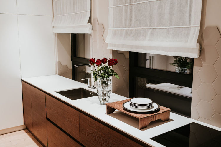 Plant Home Interior Vase Home Household Equipment Table Architecture Indoors  Nature Home Showcase Interior Modern Domestic Room No People Built Structure Sink Flowering Plant Flower Furniture Domestic Kitchen Kitchen Luxury Flooring