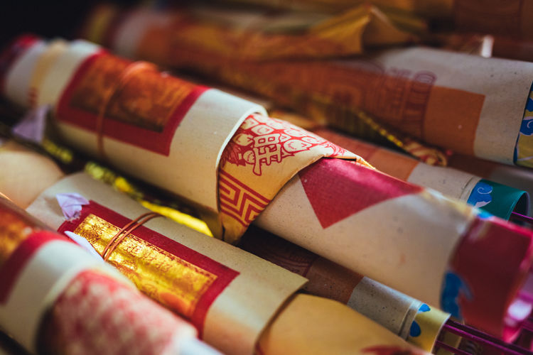 Full frame shot of incense boxes