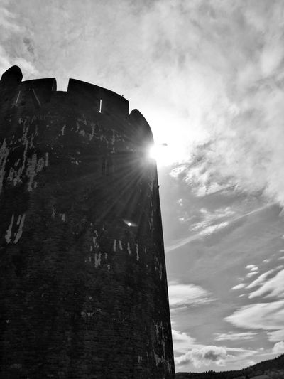 Wales Outdoors Sky Medieval Architecture Medieval Castle Medievaltower Blackandwhite Black And White Photography Wales❤